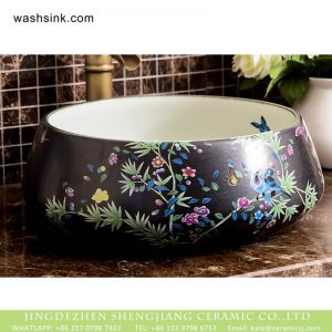 XHTC-X-1046-1 Shengjiang factory wholesale black surface and white wall with colorful printing toilet basin