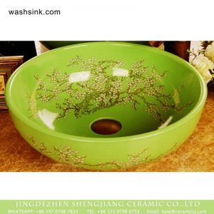 XHTC-X-1055-1 Ceramic made in Jingdezhen elegant single hole ceramic green color and beautiful wintersweet pattern sink bowl