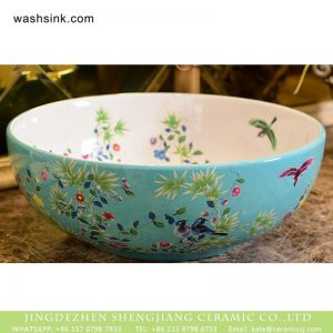 XHTC-X-1061-1 China made famille rose hand made turquoise color wash basin