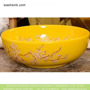XHTC-X-1063-1 Chinese art countertop beautiful yellow color with wintersweet graphic pattern sink