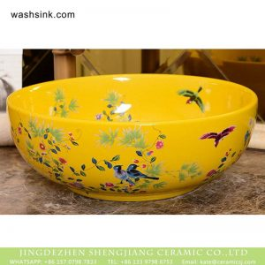XHTC-X-1067-1 Factory direct wholesale pretty light yellow typical floral device art ceramic sink