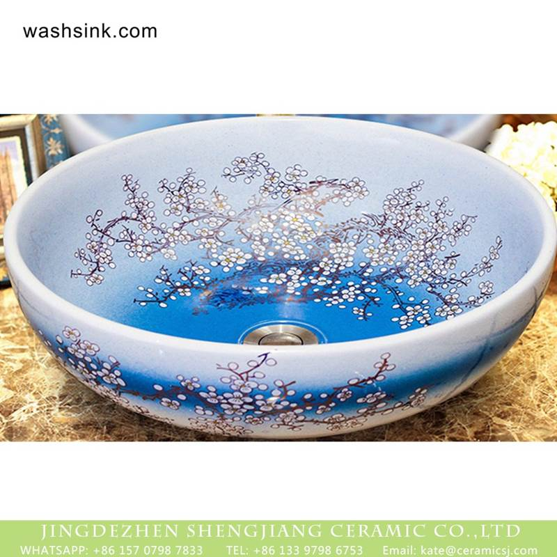 Shengjiang factory porcelain counter mounted single hole the gradient blue color wash basin