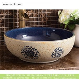 XHTC-X-1074-1 Jingdezhen factory wholesale price deep blue wall smooth ceramic retro surface lavabo