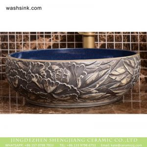 XHTC-X-1091-1 Chinese factory direct wholesale price hand carved gray vanity art bowl vessel basin