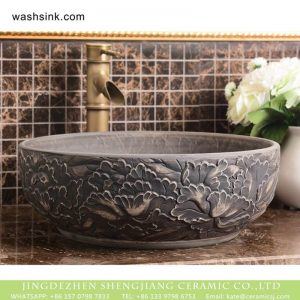 XHTC-X-1092-1 Shengjiang factory hot sales special design protect deep gray hand carved wash hand basin