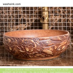 XHTC-X-1093-1 China traditional high quality bathroom ceramic hand carved an artistic design basin