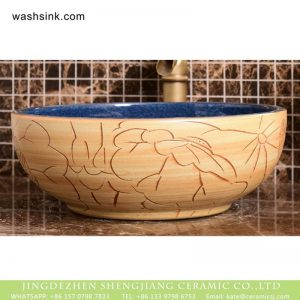 XHTC-X-1094-1 Shengjiang factory deep blue wall and wood color with carved special pattern surface sink