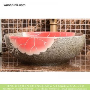 XHTC-X-1096-1 China made imitating marble with famille rose typical floral art ceramic wash basin
