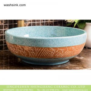 XHTC-X-1097-1 Hot sale smooth ceramic art famille rose turquoise carved round leaf pattern sink bowl