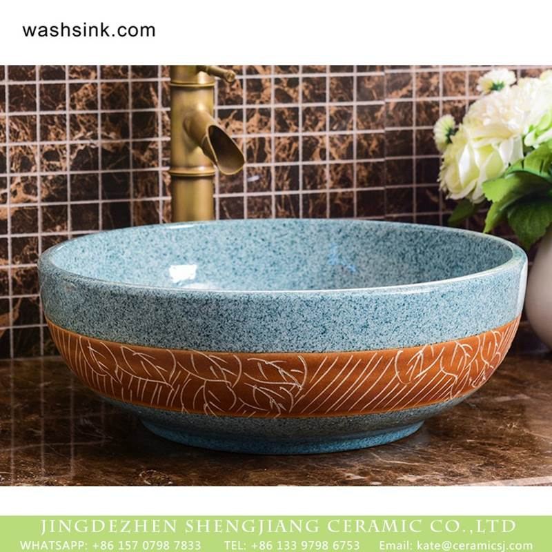 Jingdezhen wholesale smooth ceramic art famille rose turquoise carved round leaf pattern sink bowl