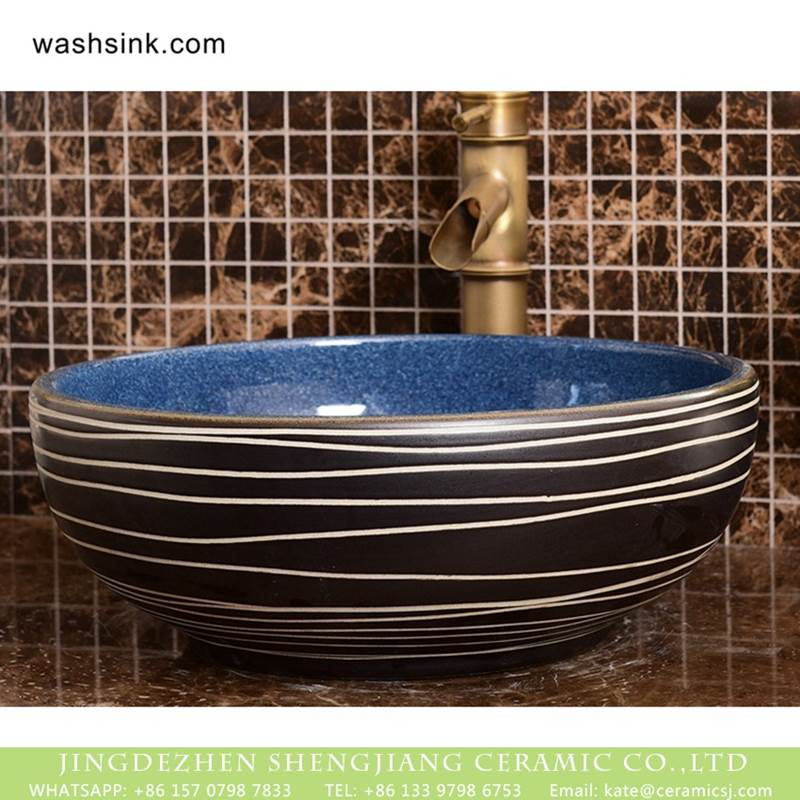 Made in Jingdezhen dark blue wall and black surface with white irregular lines sanitary ware