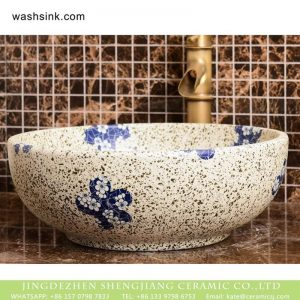 XHTC-X-2070-1 Chinese art countertop white color with black spots and wintersweet pattern sink bowl