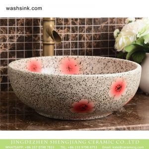 XHTC-X-2071-1 Wholesale artistic color glazed typical floral pattern bathroom ceramic wash basin