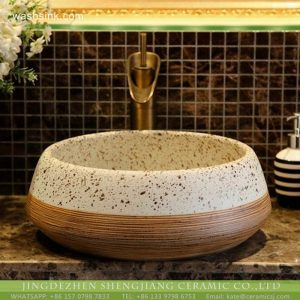 XHTC-X-2075-1 Ceramic capital hot sell white with black spots and brown with lines surface wash hand basin