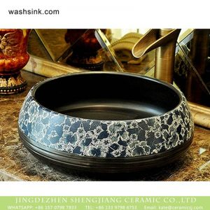 XHTC-X-2080-1 Chinese pure hand carved product black color with beautiful pattern wash sink basin