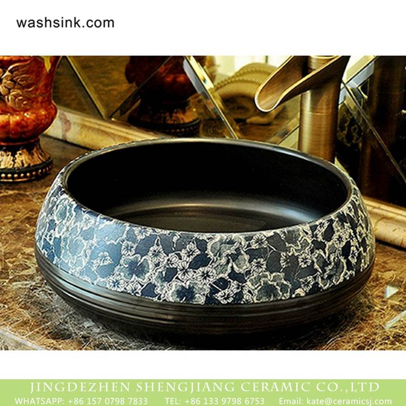 Chinese pure hand carved product black color with beautiful pattern wash sink basin