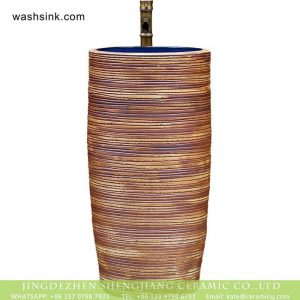 XHTC-Y-6001-3 Jingdezhen unique design art ceramic hand carved the wood stripe one piece freestanding basin