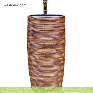XHTC-Y-6001-3 Jingdezhen unique design art ceramic hand carved the wood stripe one piece freestanding basin