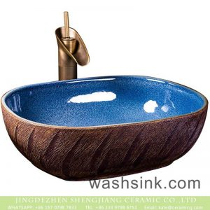 XXDD-01-2 Porcelain city Jingdezhen light blue wall and solid surface table top vanity basin