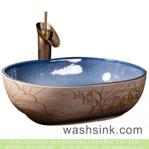 XXDD-03-2 Jingdezhen factiry direct art ceramic hand carved pattern on the wood surface wash hand basin