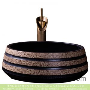 XXDD-04-4 Jingdezhen wholesale antique round the industrial pedestal modern sink art black with spots ceramic sink bowl