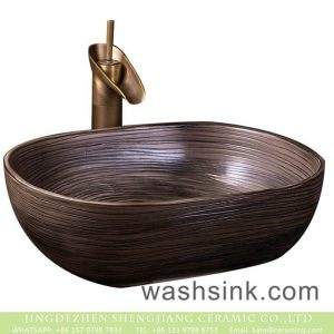 XXDD-05-1 China traditional high quality bathroom ceramic brown color with black lines sanitary ware