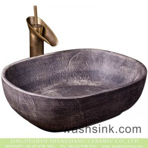 XXDD-09-3 Shengjiang factory retro ceramic deep gray with special graphic sink basin