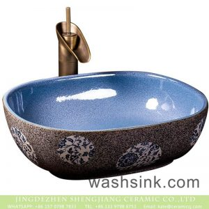 XXDD-10-4 Chinese morden new style light bule wall dark surface with spots and circular patterns surface lavabo