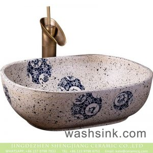 XXDD-12-3 Made in Jingdezhen retro style white color with spots and circular patterns surface wash basin