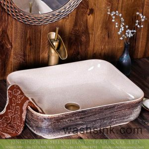 XXDD-14-2 Porcelain city Jingdezhen square white wall and imitating marble surface ceramic sink