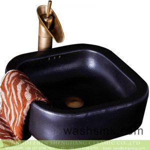 XXDD-15-5 Jingdezhen modern vanity art black color foursquare elegant single hole ceramic sink bowl