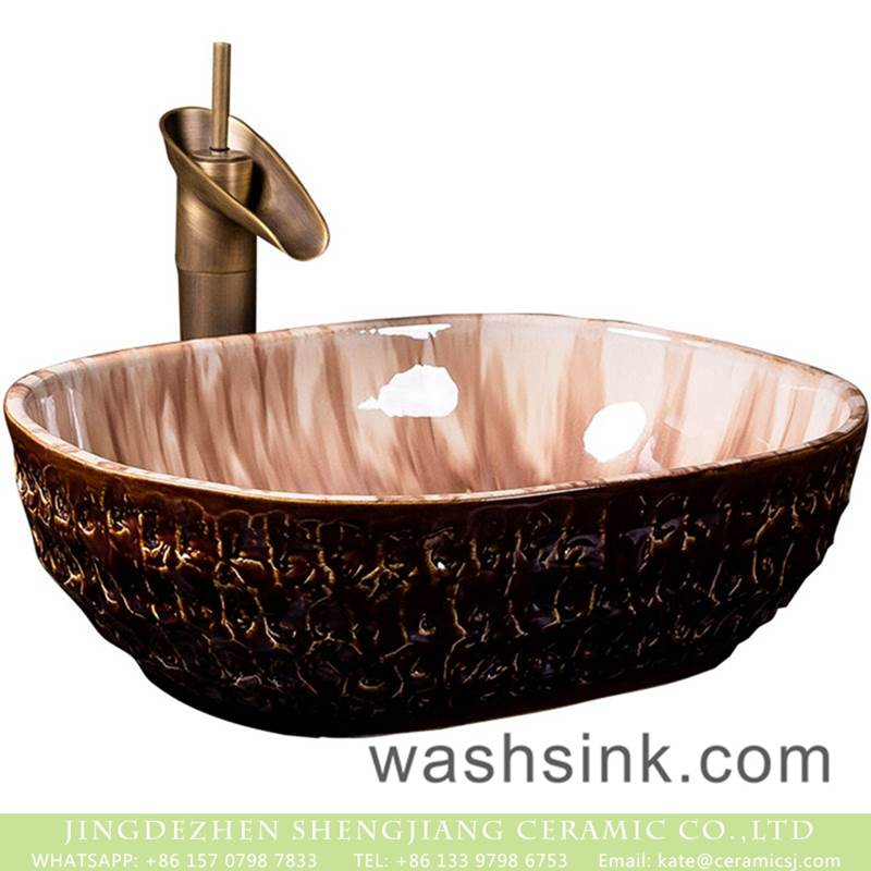 Europe retroing style high gloss light color and uneven dark surface wash hand basin