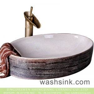 XXDD-18-3 Shengjiang factory direct ice crack porcelain and marbling thin edge oval art basin