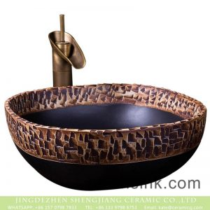 XXDD-20-4 Shengjiang factory fancy ceramic product black and brown irregular pattern toilet basin