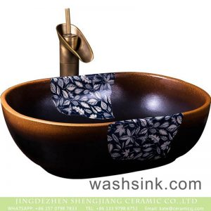 XXDD-21-4 Jingdezhen hot new products the gradient of dark with leave pattern vanity basin