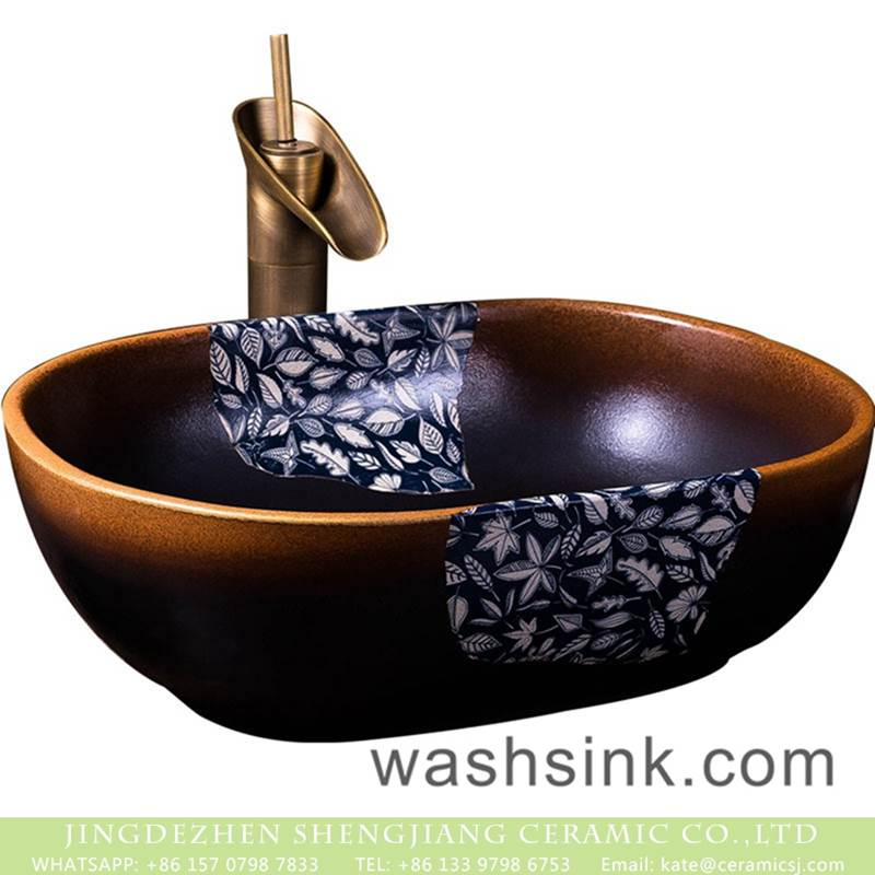 Jingdezhen hot new products the gradient of dark with leave pattern vanity basin