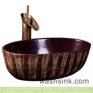 XXDD-25-2 Factory wholesale price deep red color and hand carved lines thin edge oval porcelain art basin