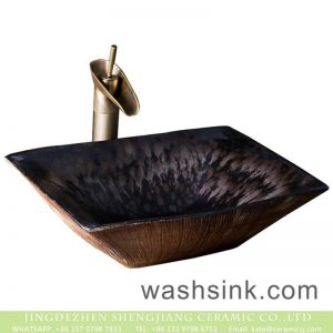 XXDD-28-4 New Style Rectangle Ceramic Bathroom brown and black color wash hand basin