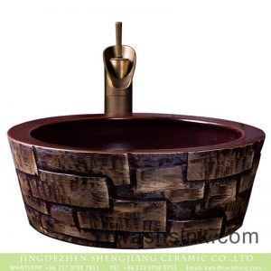 XXDD-31-1 Jingdezhen wholesale dark red color wall and irregular graphic surface wash hand basin