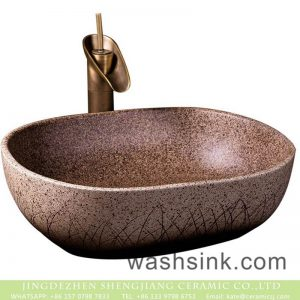 XXDD-34-2 Shengjiang factory direct hand carved brown and white color with black spots square ceramic lavabo