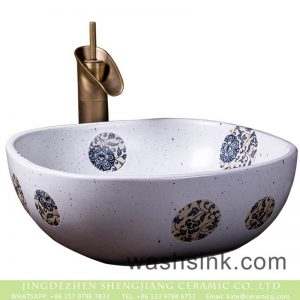 XXDD-35-2 Chinese art countertop white color with round device and spots dimetric vanity basin