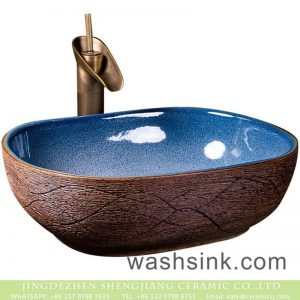 XXDD-36-3 Jingdezhen retro style light blue wall and the wood of surface vanity art ceramic