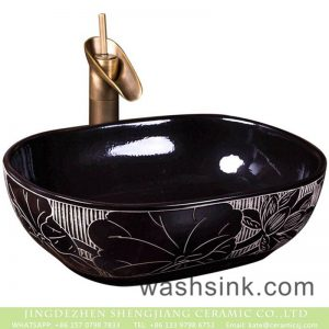 XXDD-42-2 Shengjiang factory direct bright black ceramic with flowers pattern sanitary ware