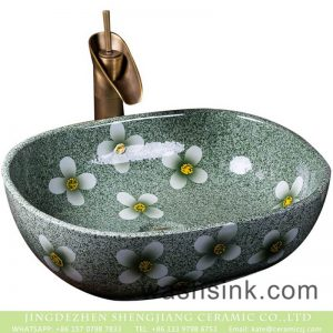 XXDD-43-4 Jingdezhen fancy ceramic product green color with floral art wash sink