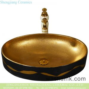 YQ-001-6 Shengjiang factory porcelain modern vanity art golden wash hand basin