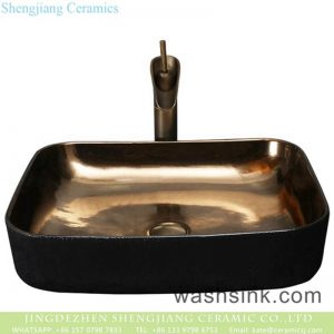 YQ-002 Chinese art countertop elegant single hole black ceramic high gloss square sink bowl
