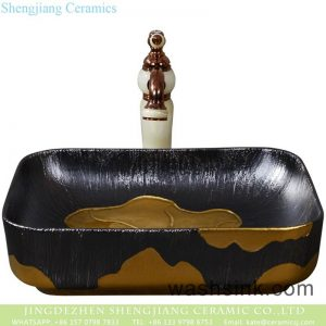 YQ-003-10 Shengjiang fancy ceramic product black with gold printing quadrate vanity basin