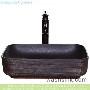 YQ-005-13 New products wholesale carved black uneven surface art ceramic wash hand basin