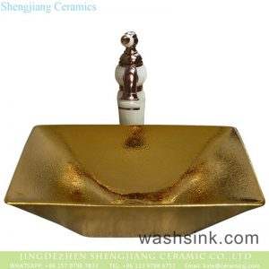 YQ-007-14 Jingdezhen factory direct wholesale modern art golden wash sink basin