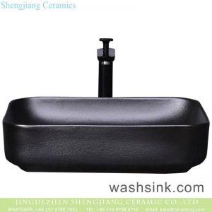 YQ-012-9 Shengjiang factory wholesale price black ceramic square vanity basin